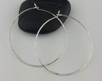 """1.5"""" Silver Hoop Earrings, One and a half Inch Hoop Earrings, Argentium Sterling Silver, Hoop Earrings, Hammered Earrings, Round Hoops"""