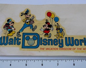 Vintage Walt Disney World Decal 1963. The Vacation Kingdom Of The World.