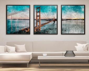 Golden Gate Bridge Print Set, Golden Gate Bridge Art, Panel Art, Panel Wall Art, Wall Decor, Large Wall Art, Gift, San Francisco Poster