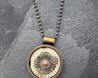 Genuine Watch Face and Gear Steampunk Necklace