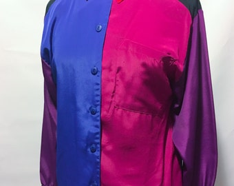 80s Impressions of California Color Block Long Sleeve Blouse with Shoulder Pads Blue Magenta Pink Red Black