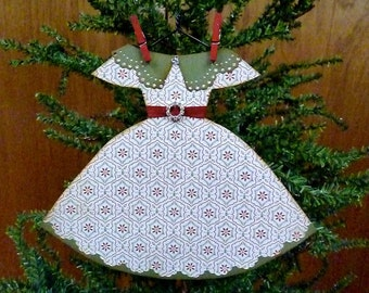 Paper Dress Ornament, Handmade Ornament, Paper Ornament, Dress Ornament, Vintage Inspired Christmas