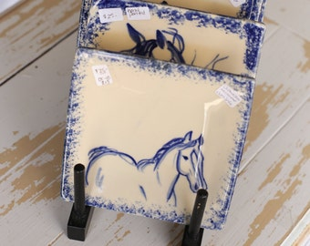 Handpainted Stoneware Pottery Tray/Horse Trinket Dish/Small Square Horse Plate/Blue & White Horse Plate/Handpainted Horse Pottery/Horse Dish