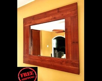 Large Mirror - FREE SHIPPING - Reclaimed Wood Mirror - Distressed Wood - Mirror Shelf - Rustic Mirror - Wooden Wall Mirror -