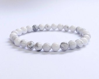 Natural White Howlite 6mm Beads Bracelet, Howlite Bracelet, Mens Bracelet, Womens Beaded Bracelet, Stretch Bracelet