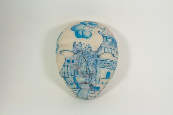 Handmade sculpture- Blue Willow China Pattern Face