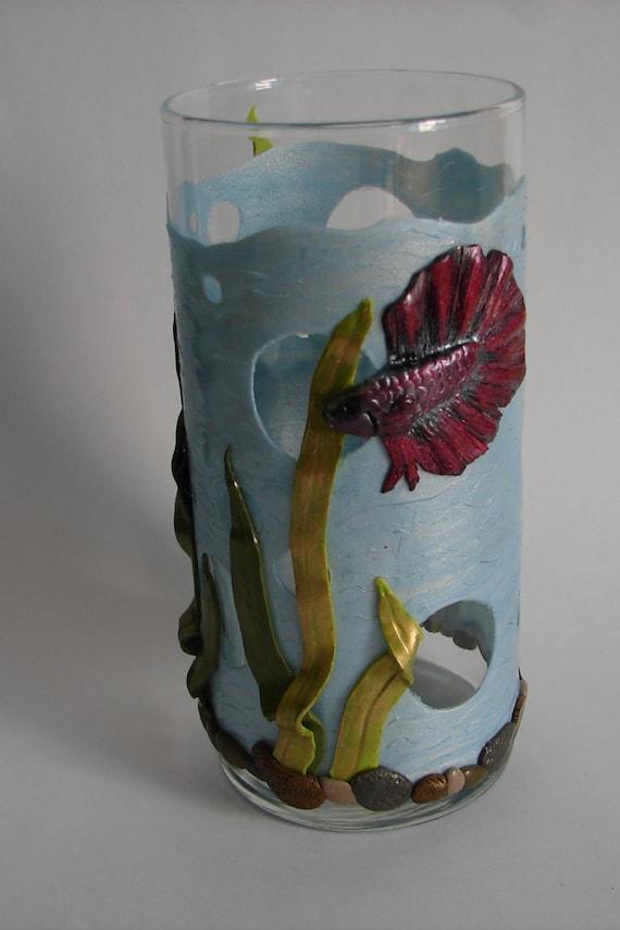 Betta fish aquarium vase polymer clay nautical marine aquatic for Betta fish vase