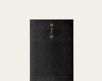 Blank Kraft black eyelet format A5 thank you wedding Invitation + envelope