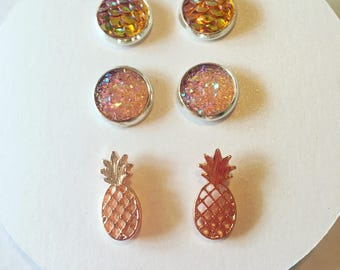 Druzy Mermaid Scales Pineapple Earring Pack