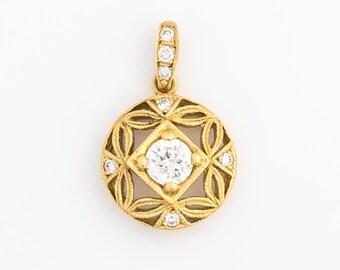 Vintage 1950s Diamond & 18k Gold Pendant Charm, VJ #588