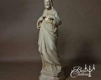 Large Antique French sculpture statue of Jesus of the Sacred Heart - Beautiful satin ivory colour religious Christian chalkware Stone