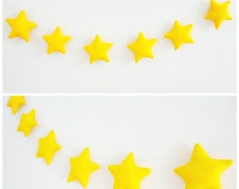 Stars garland, twinkle little stars decor, birthday party banner, kids room wall hanging, unisex baby shower gift, yellow nursery mobile