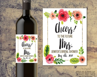 CUSTOM BRIDAL SHOWER Wine labels- Cheers, Celebrate, Bridal Shower Centerpiece-Bridal Shower Favors-Faux Gold Foil