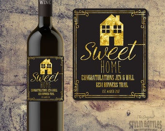 CUSTOM HOUSE WARMING Gift, New Home Gift, Custom Wine Label, Personalized House Warming Wine Label