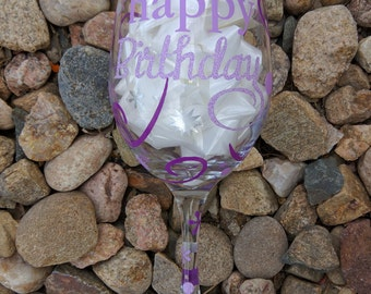Customized Birthday Wine Glass, 21 oz.