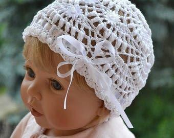 Crochet baby hat, Christening Crib cap, summer Hat, Crochet Summer Hat, romantic princess, princess girl hat, Kids Beach Hat, girl cap, cute