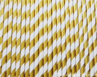 Gold Straws-Gold Foil Straws-Gold Paper Straws-Gold Foil Stripe Paper Straws-Gold Straws-Gold Drinking Straws-Gold Paper Straws-Gold Straws
