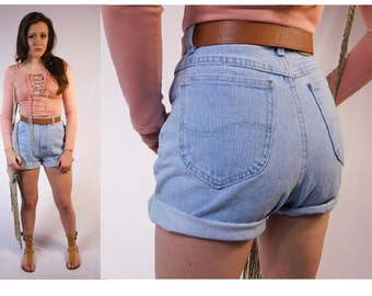 Vintage High Waist Jean Shorts Denim High Waist Shorts 80s High Waist Shorts Womens Shorts Washed Out High Waist Shorts Rugged Denim shorts