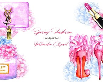 Spring Fashion Watercolor Clipart, Watercolor Flowers, Chanel inspired Lipstick, Shoes, YSL inspired bag