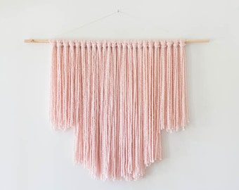 Large Blush Pink Modern Bohemian Yarn Wall Hanging