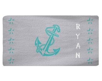 Grey, Teal Anchor Area Rug Personalized, Nautical Rug, Custom Area Rug, Fuzzy, Nautical Mat, Anchor Rug, Name, Monogram, Nursery Rug - SALE