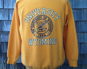 Vintage 80s WYOMING COWBOYS Sweatshirt - Large - University