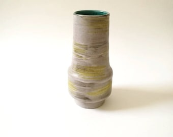 beautiful vintage ceramic vase german pottery midcentury modern grey yellow  green decoration stone homedecor pottery Westgermany