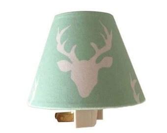 Woodland Deer  Night Light-Baby Boy-Mint Night Light-Nursery Night Light-Hello Bear Buck Forest Mint-Boy room-Wall Decor