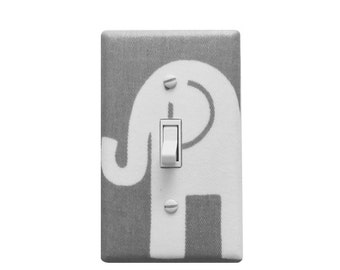 Gray and White  Elephant Light Switch Cove-Girl or Boy -Ele Premier Prints Storm Grey-Elephant Nursery Room -Wall Decor