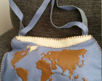 Handmade bag world map, unique leather.