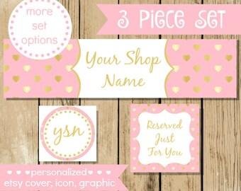 Premade Etsy Shop Set - Pink Gold Hearts Etsy Set - Etsy Banner - Etsy Shop Set - Etsy Shop Graphics - Light Pink - Gold Foil Heart Shop Set