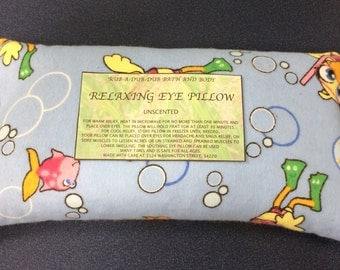 Rice filled flannel cotton unscented relaxing eye pillow in a fun under water rubber ducky fabric Free Shipping!