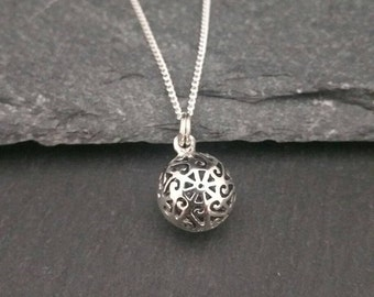 Genuine 925 Sterling Silver 3D Hollow Ball Ornate Necklace Gift Wrapped