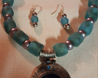Acqua Blue Necklace and Earrings