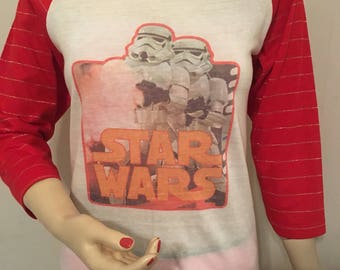 Vintage 1970s 1980s Red White Gold Star Wars Iron On T-Shirt