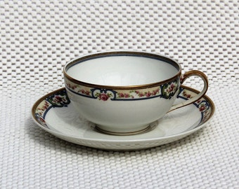 Tea Cup and Saucer - VintageTheodore Haviland Limoges France - Tea Cup and Matching Saucer - for Stix Baer and Fuller St. Louis MO