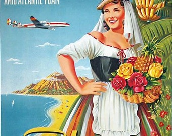 Vintage Iberia Flights to The Canary Islands Poster A3 Print