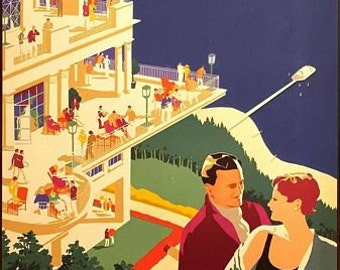 Vintage Southern Rail Folkestone Kent Railway Poster A3 Print