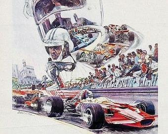 Vintage 1971 Monaco Grand Prix Motor Racing Poster  A3 Print