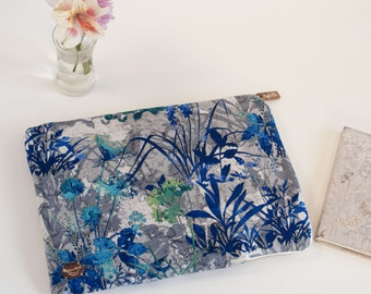 Gold Accents Wildflower Laptop Sleeve with Brass Zipper in Grey, Blue & Purple