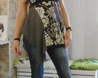 Extravagant Desigual Tunic / Loose Fancy Tunic / Unique Designer Tunic / Boho Short Sleeves Tunic