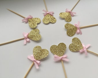 baby girl shower decorations, gold glitter heart cupcake toppers, it's a girl shower, bridal shower decorations, heart cupcake toppers