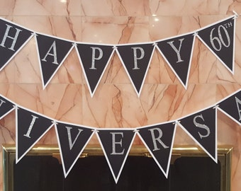 White, Black and Silver Anniversary Banner