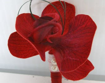 Red orchid boutonniere, Wedding boutonniere, Groom boutonniere, Prom boutonnieres