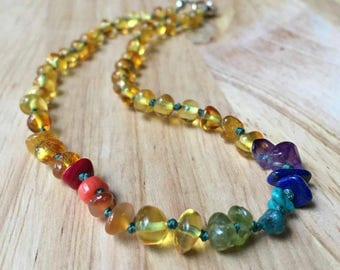 "11.5"" Rainbow Amber Teething Necklace - Rainbow baby, Baltic amber teething necklace, amber necklace, baby rainbow, miscarriage necklace"