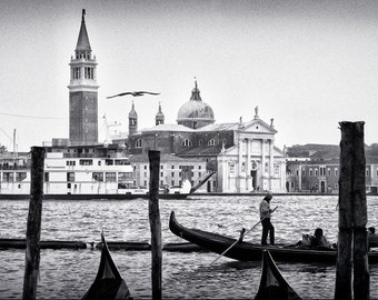 Venice, Italy Gondola and Chiesa di San Giorgio church, La GiudeccaGiclee - Photo Canvas Stretched on Wood Frame
