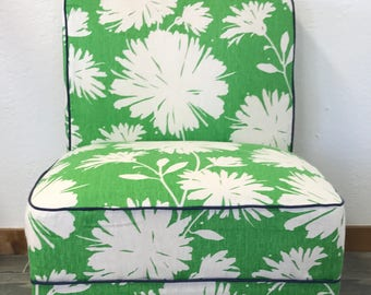 Slipper Chairs, Kate Spade Curiosities, Gerbera, Kravet, Armless Chair, Green Chair, Floral print Chair, Accent Chair, Living Room Chair