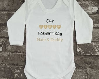 Personalised Baby Bodysuit, First Father's Day, Father's Day Babygrow, Baby Shower Gift, Gift for Him, New Daddy Baby Vest, New Mom