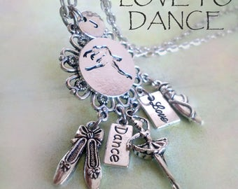 Ballet Dancer Necklace w-Letter Charm of Your Choice, Birthday Gift,I Love to Dance, Ballerina Gift, Ballet Dancer Gift, I Love Ballet