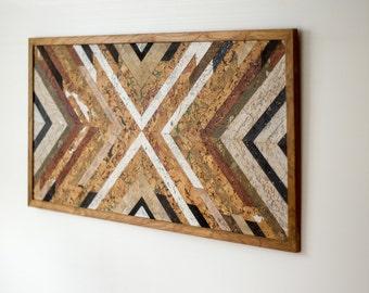 Wood wall art, modern wall decor, rustic wall decor, wood painting, wood artwork, farmhouse decor, wood mosaic